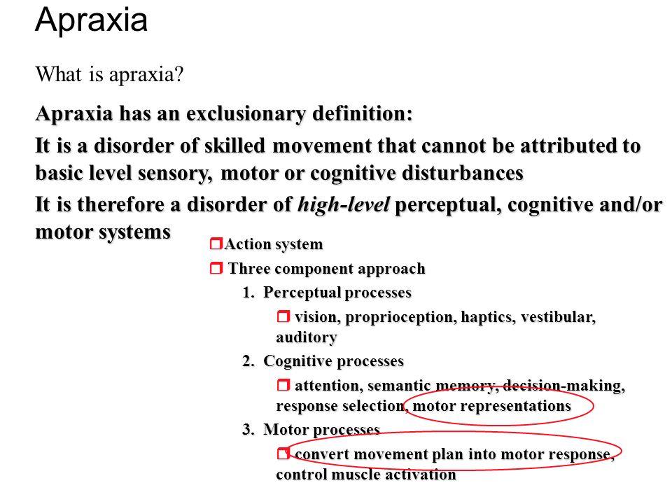 Action system Action system Three component approach Three component approach 1. Perceptual processes vision, proprioception, haptics, vestibular, aud