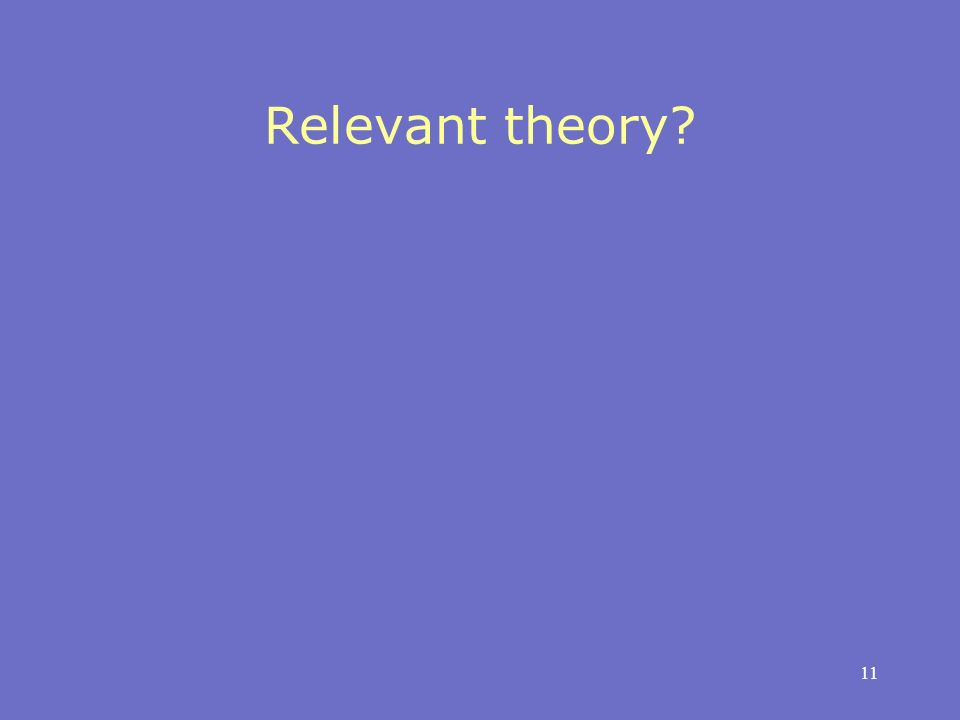 11 Relevant theory
