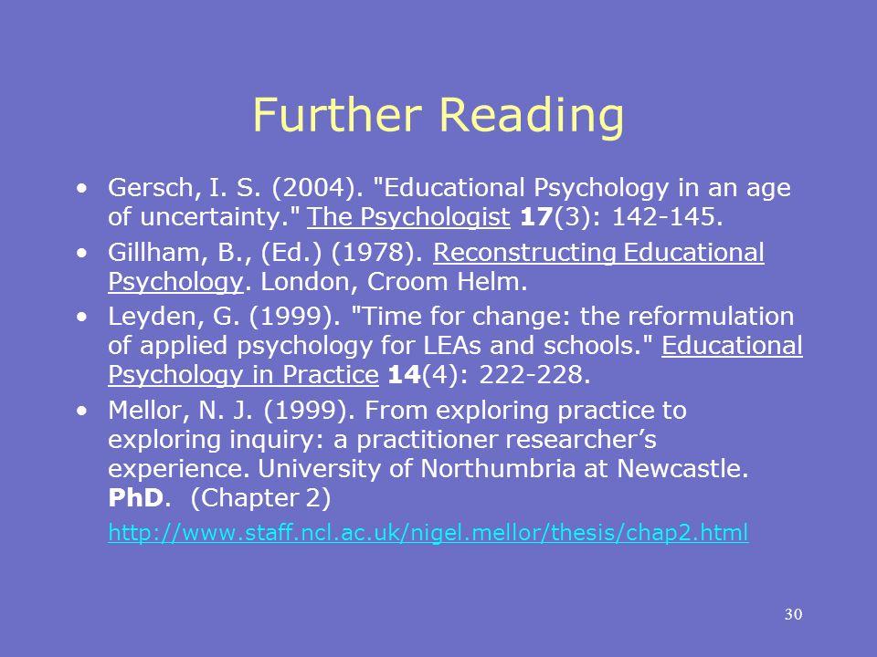 30 Further Reading Gersch, I. S. (2004).