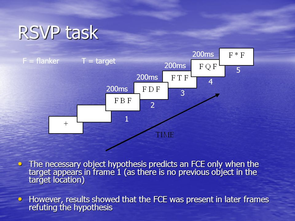 RSVP task The necessary object hypothesis predicts an FCE only when the target appears in frame 1 (as there is no previous object in the target locati