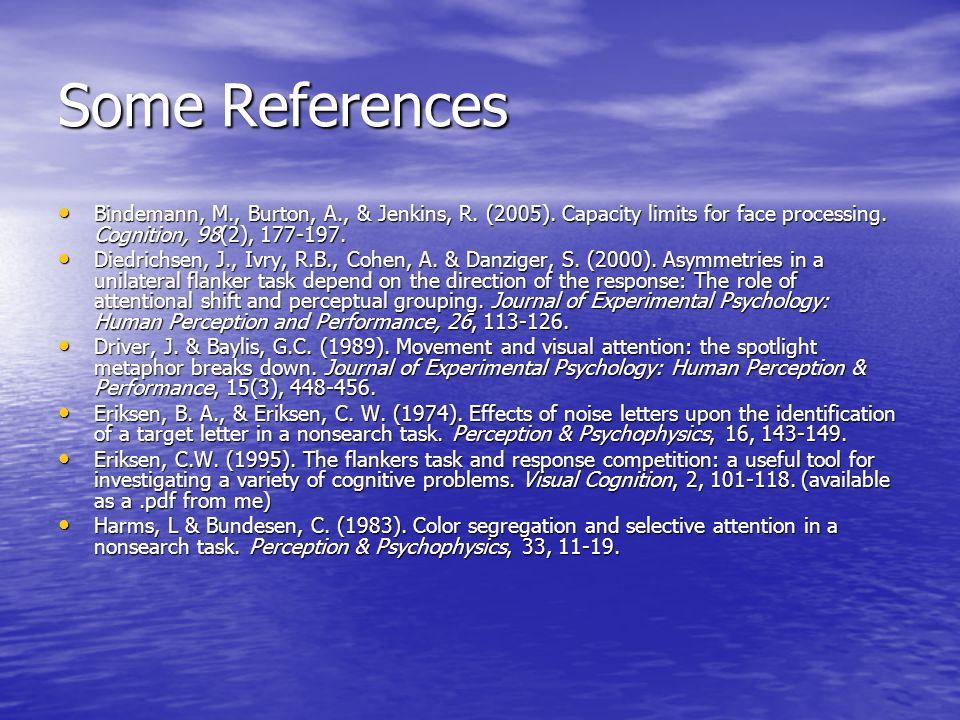 Some References Bindemann, M., Burton, A., & Jenkins, R. (2005). Capacity limits for face processing. Cognition, 98(2), 177-197. Bindemann, M., Burton