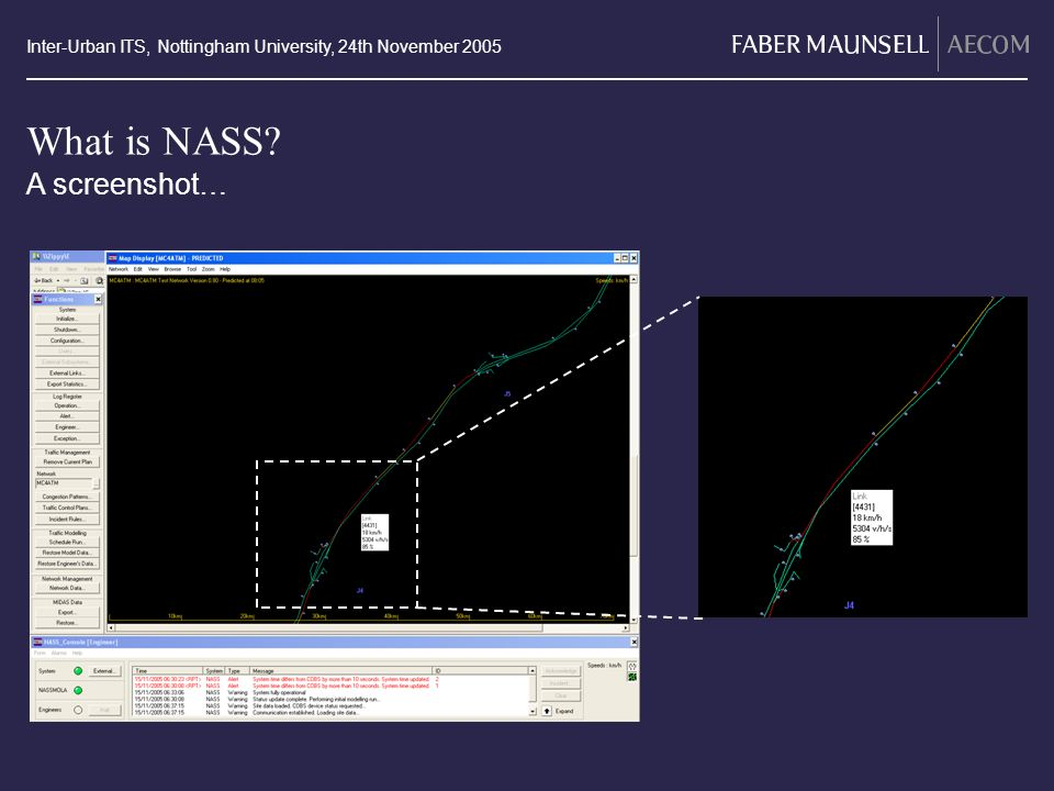 Inter-Urban ITS, Nottingham University, 24th November 2005 What is NASS A screenshot… Image