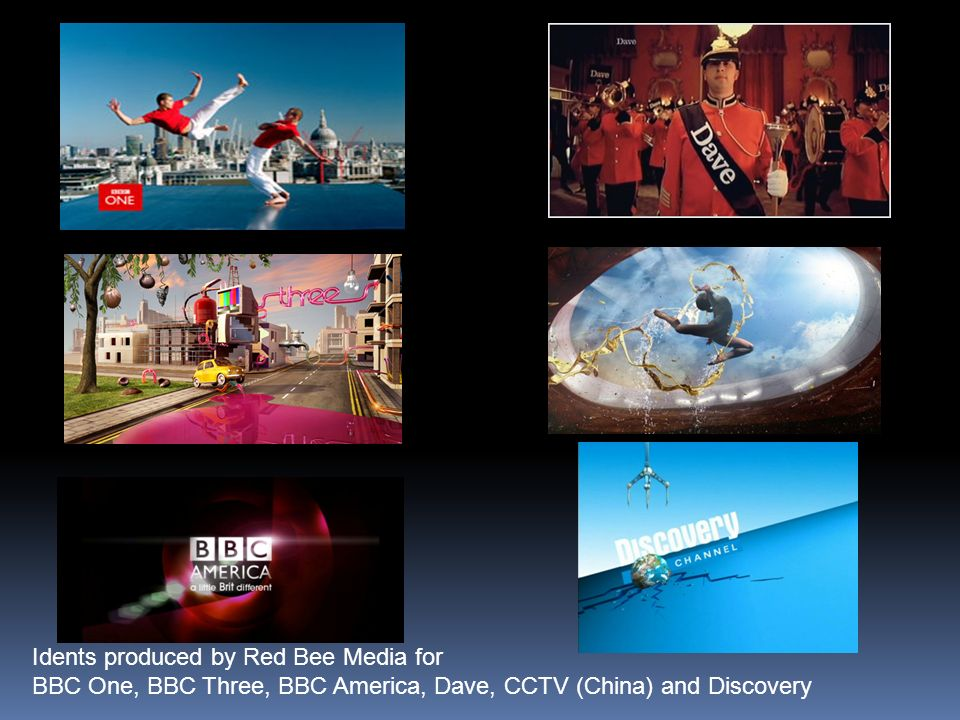 Idents produced by Red Bee Media for BBC One, BBC Three, BBC America, Dave, CCTV (China) and Discovery