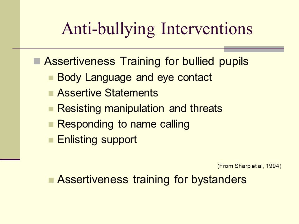 Anti-bullying Interventions Assertiveness Training for bullied pupils Body Language and eye contact Assertive Statements Resisting manipulation and th