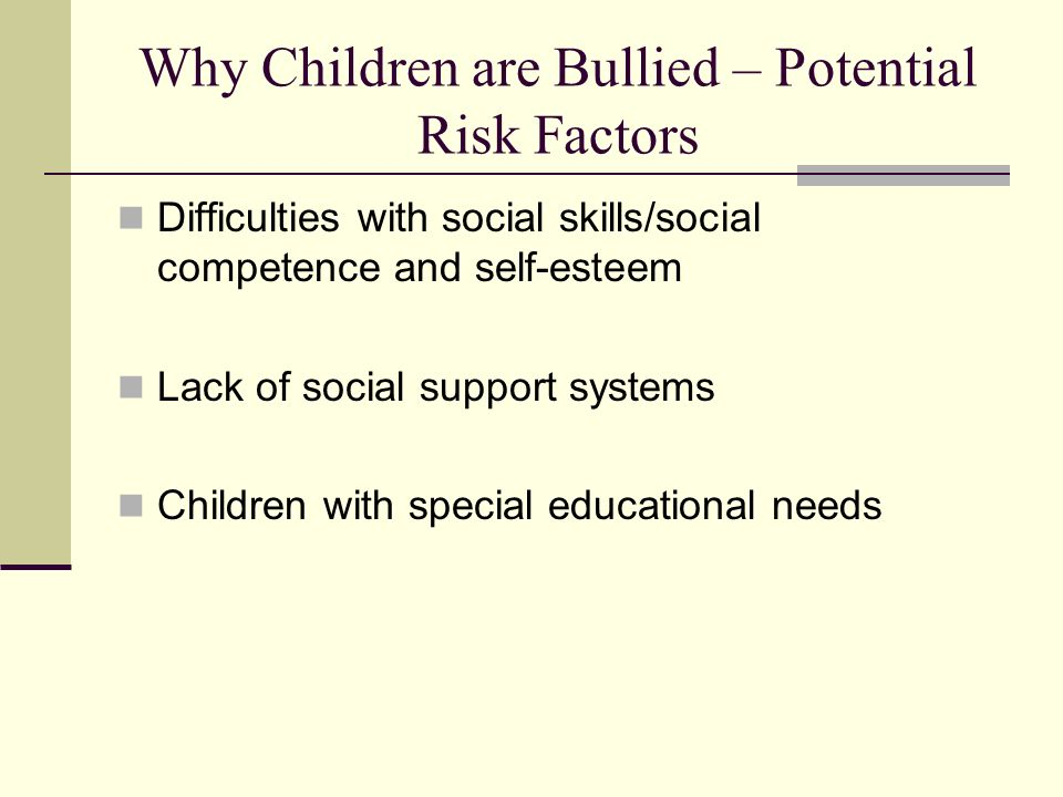 Why Children are Bullied – Potential Risk Factors Difficulties with social skills/social competence and self-esteem Lack of social support systems Chi