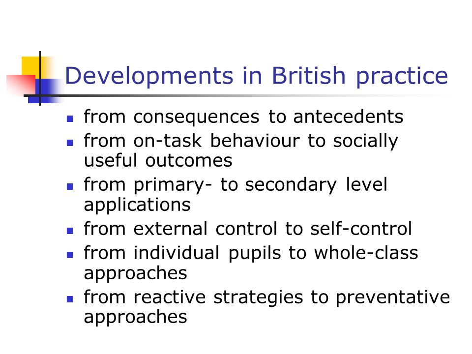 Developments in British practice from consequences to antecedents from on-task behaviour to socially useful outcomes from primary- to secondary level