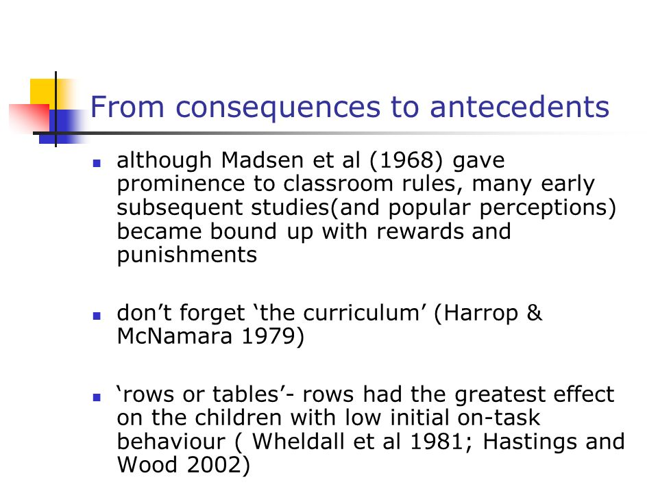 From consequences to antecedents although Madsen et al (1968) gave prominence to classroom rules, many early subsequent studies(and popular perception