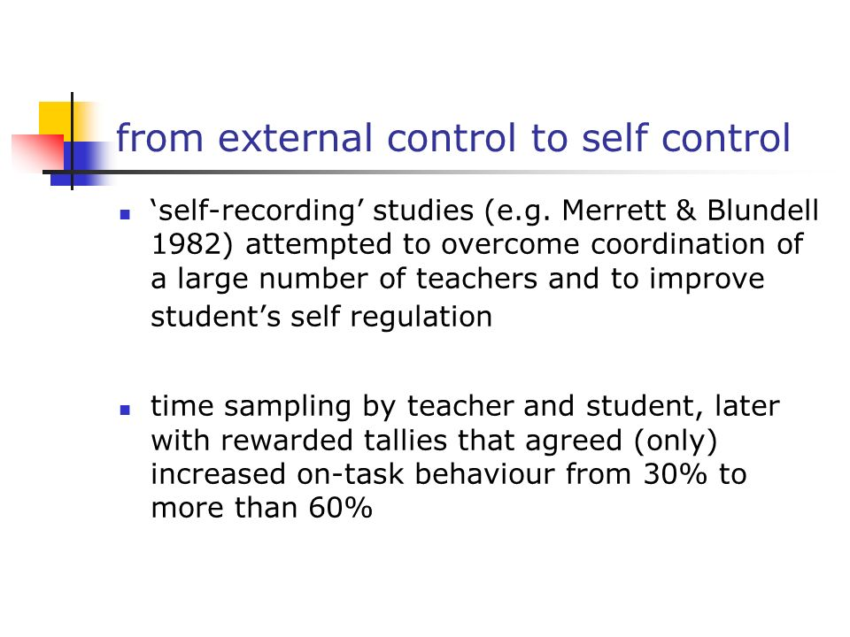 from external control to self control self-recording studies (e.g. Merrett & Blundell 1982) attempted to overcome coordination of a large number of te