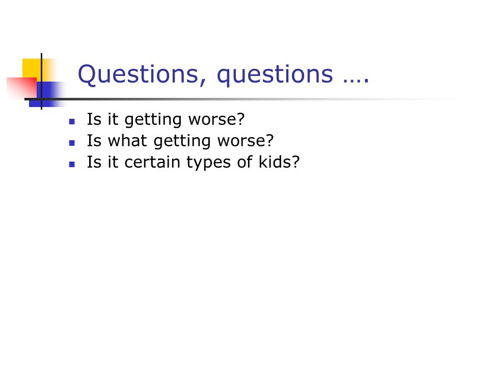 Questions, questions …. Is it getting worse Is what getting worse Is it certain types of kids