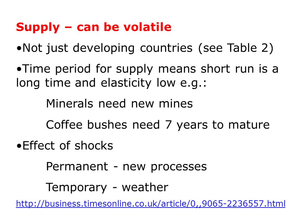 Supply – can be volatile Not just developing countries (see Table 2) Time period for supply means short run is a long time and elasticity low e.g.: Minerals need new mines Coffee bushes need 7 years to mature Effect of shocks Permanent - new processes Temporary - weather http://business.timesonline.co.uk/article/0,,9065-2236557.html