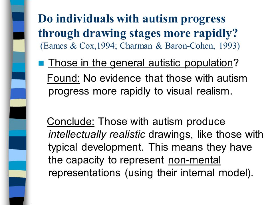 Do individuals with autism progress through drawing stages more rapidly? (Eames & Cox,1994; Charman & Baron-Cohen, 1993) Those in the general autistic