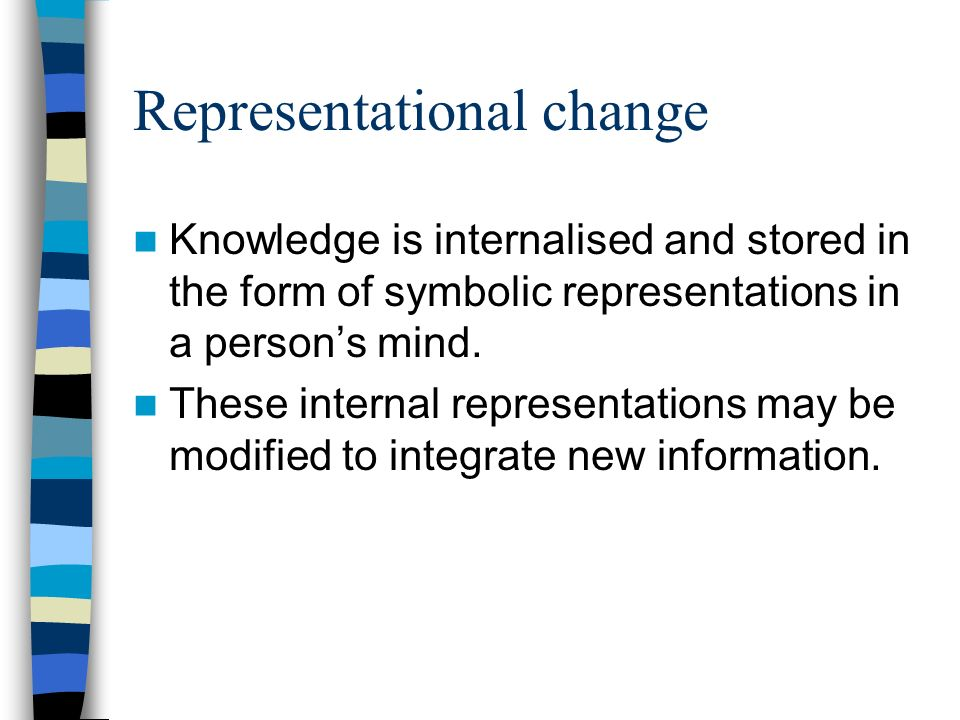 Representational change Knowledge is internalised and stored in the form of symbolic representations in a persons mind.