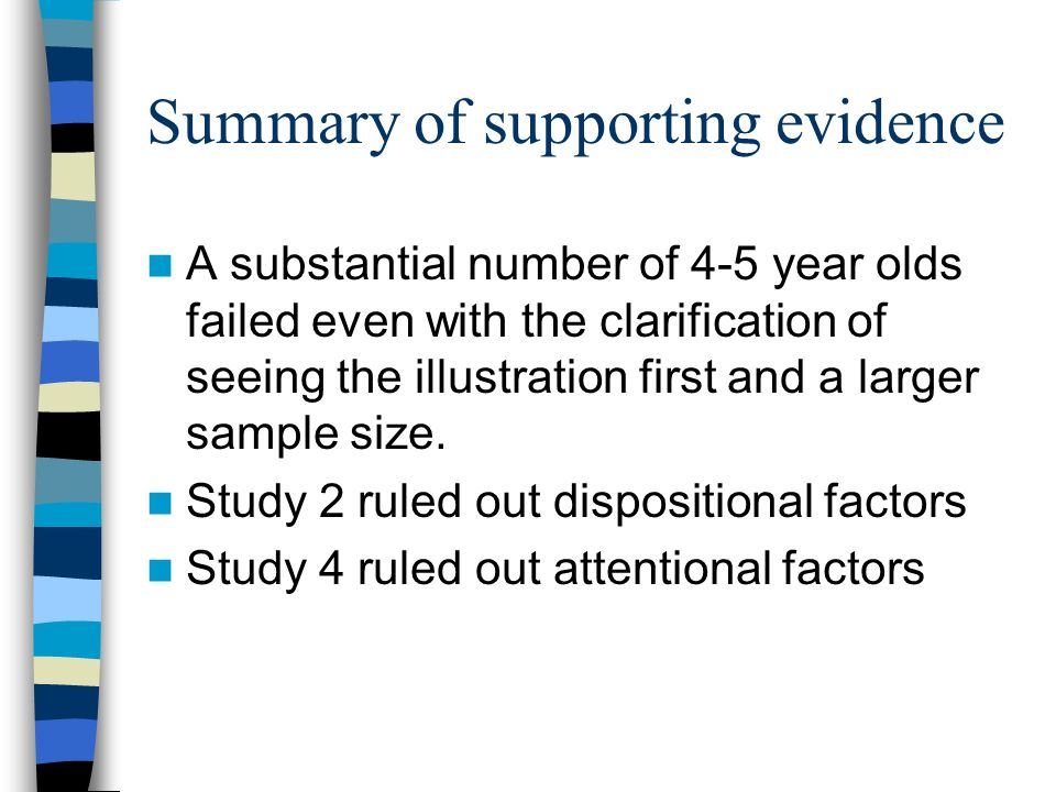 Summary of supporting evidence A substantial number of 4-5 year olds failed even with the clarification of seeing the illustration first and a larger