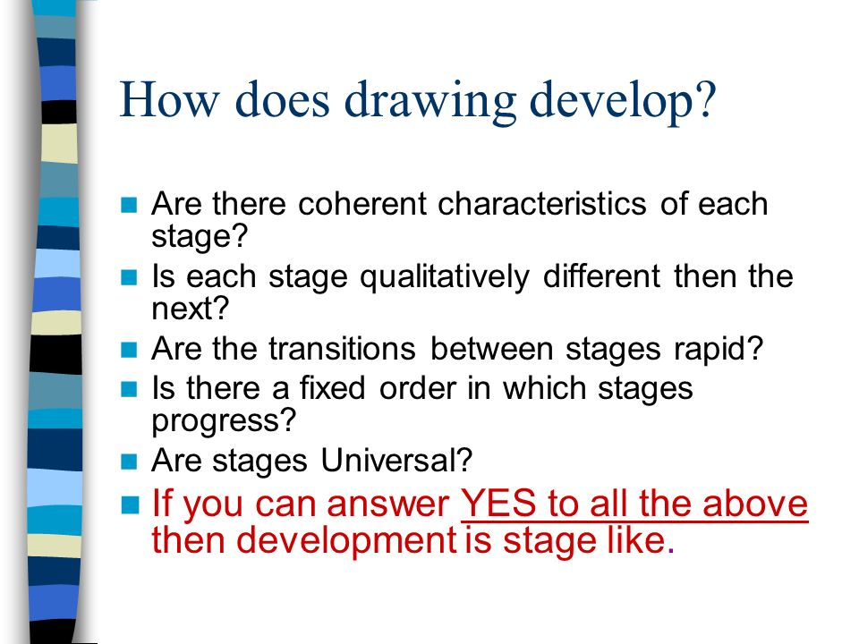 How does drawing develop. Are there coherent characteristics of each stage.