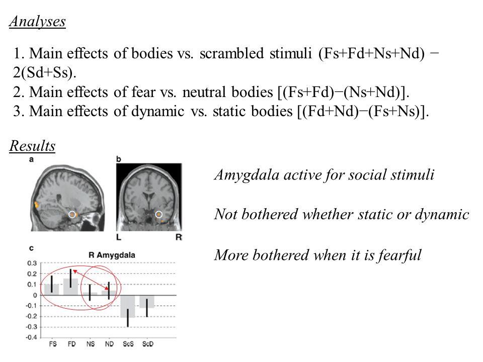 1. Main effects of bodies vs. scrambled stimuli (Fs+Fd+Ns+Nd) 2(Sd+Ss). 2. Main effects of fear vs. neutral bodies [(Fs+Fd)(Ns+Nd)]. 3. Main effects o