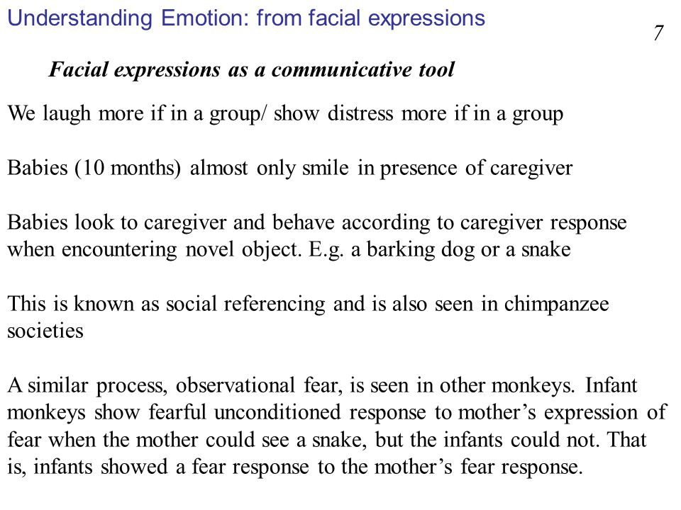 Percentage of facial responses to unpleasant odour classified as unpleasant, neutral, or pleasant in a spontaneous condition, a posed to real person condition, and a posed to imaginary audience condition In Erickson and Schulkin, 2003 8 facial expressions as communication