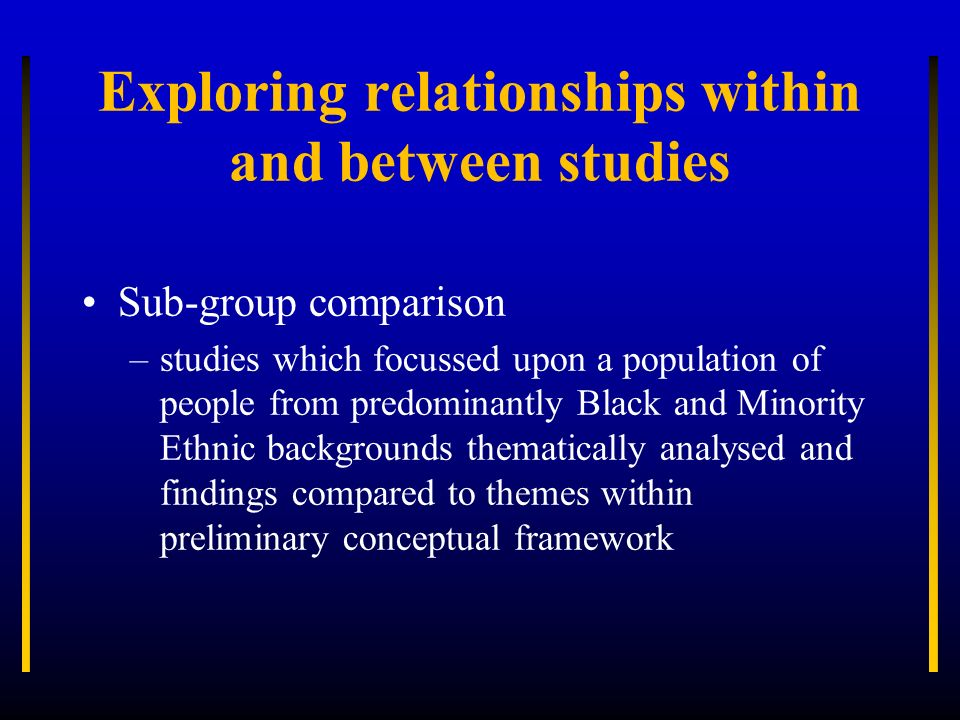 Exploring relationships within and between studies Sub-group comparison –studies which focussed upon a population of people from predominantly Black a
