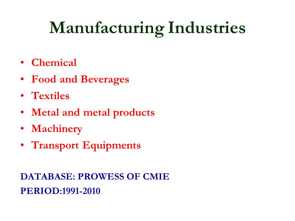 Manufacturing Industries Chemical Food and Beverages Textiles Metal and metal products Machinery Transport Equipments DATABASE: PROWESS OF CMIE PERIOD:1991-2010