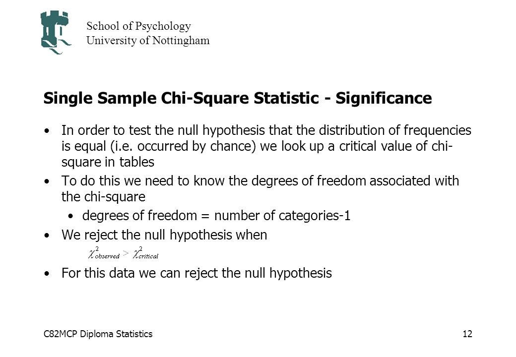 C82MCP Diploma Statistics School of Psychology University of Nottingham 12 Single Sample Chi-Square Statistic - Significance In order to test the null hypothesis that the distribution of frequencies is equal (i.e.