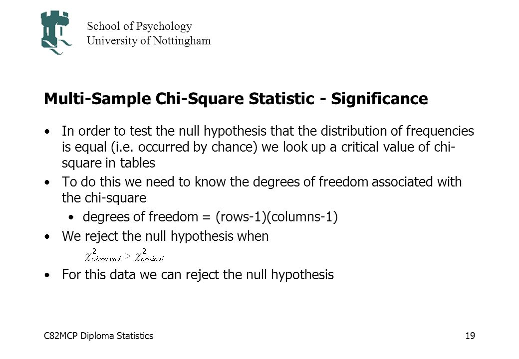 C82MCP Diploma Statistics School of Psychology University of Nottingham 19 Multi-Sample Chi-Square Statistic - Significance In order to test the null hypothesis that the distribution of frequencies is equal (i.e.
