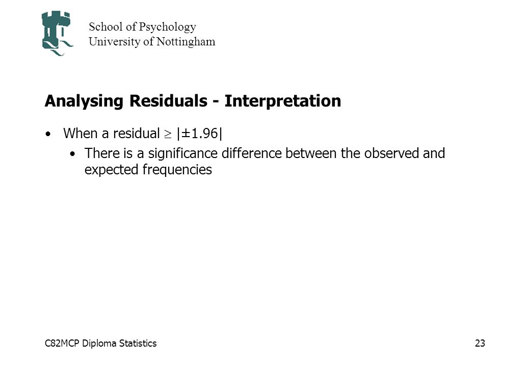 C82MCP Diploma Statistics School of Psychology University of Nottingham 23 Analysing Residuals - Interpretation When a residual |±1.96| There is a significance difference between the observed and expected frequencies
