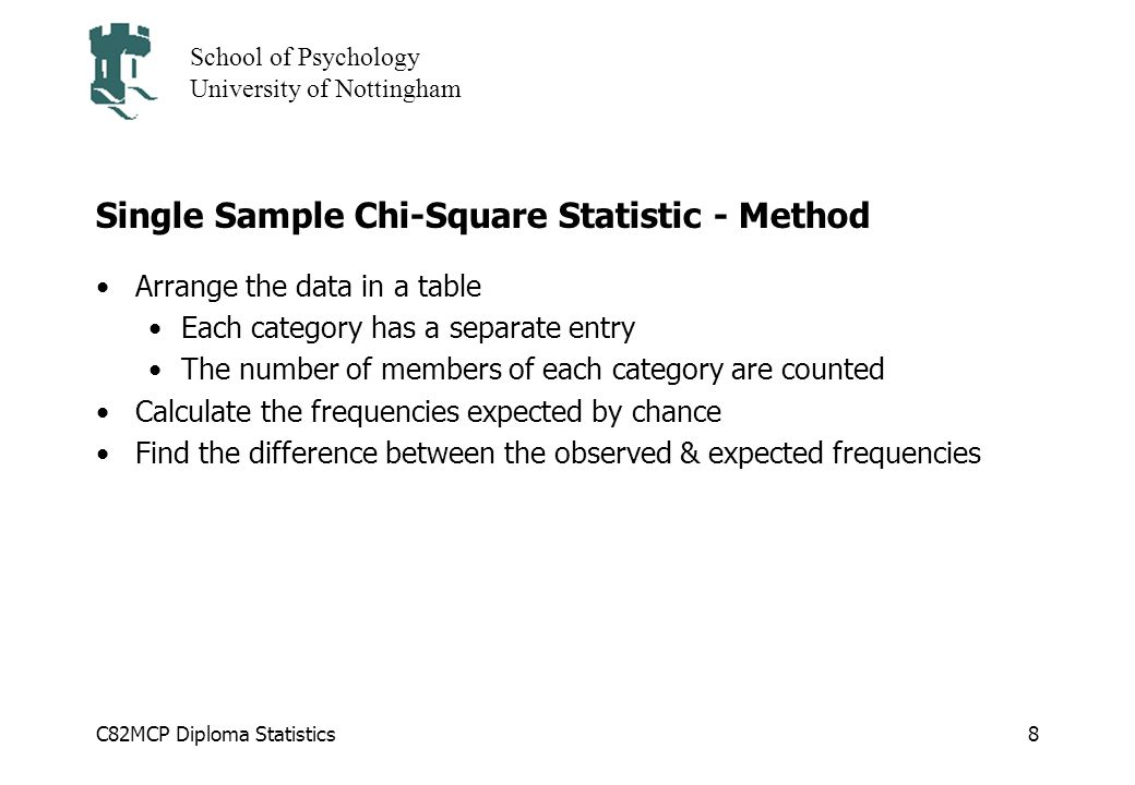 C82MCP Diploma Statistics School of Psychology University of Nottingham 8 Single Sample Chi-Square Statistic - Method Arrange the data in a table Each category has a separate entry The number of members of each category are counted Calculate the frequencies expected by chance Find the difference between the observed & expected frequencies