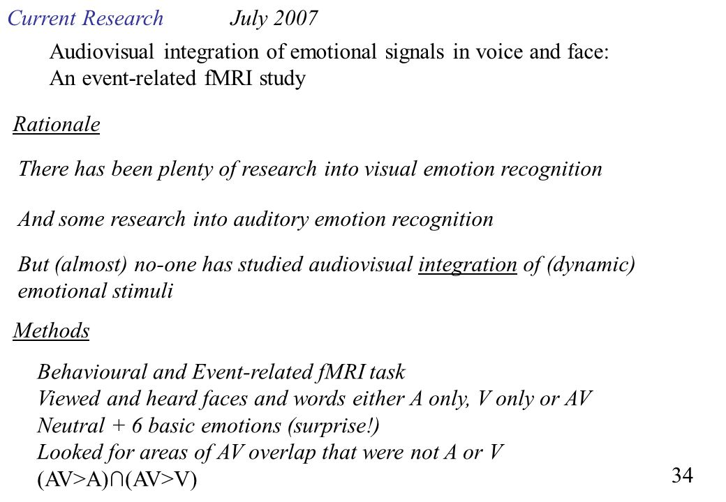 Audiovisual integration of emotional signals in voice and face: An event-related fMRI study There has been plenty of research into visual emotion reco