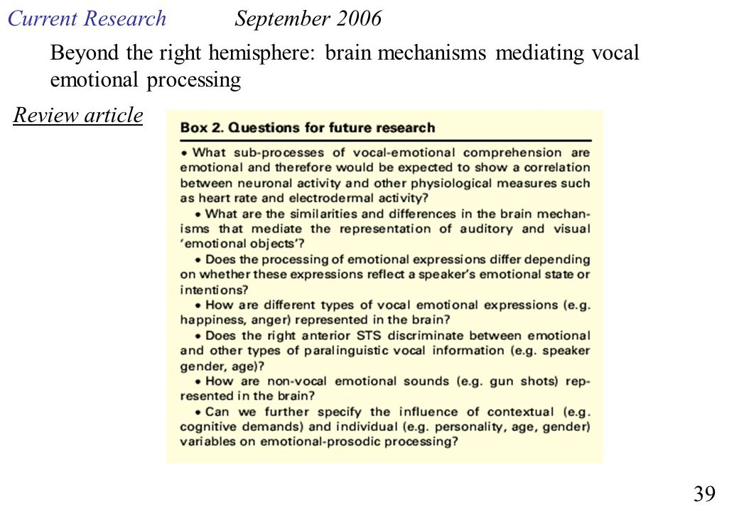 Beyond the right hemisphere: brain mechanisms mediating vocal emotional processing Current ResearchSeptember 2006 Review article 39