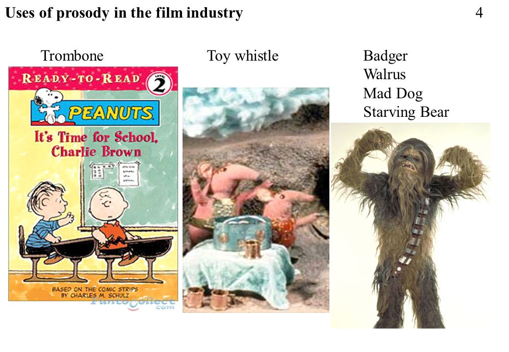 Uses of prosody in the film industry TromboneToy whistleBadger Walrus Mad Dog Starving Bear 4