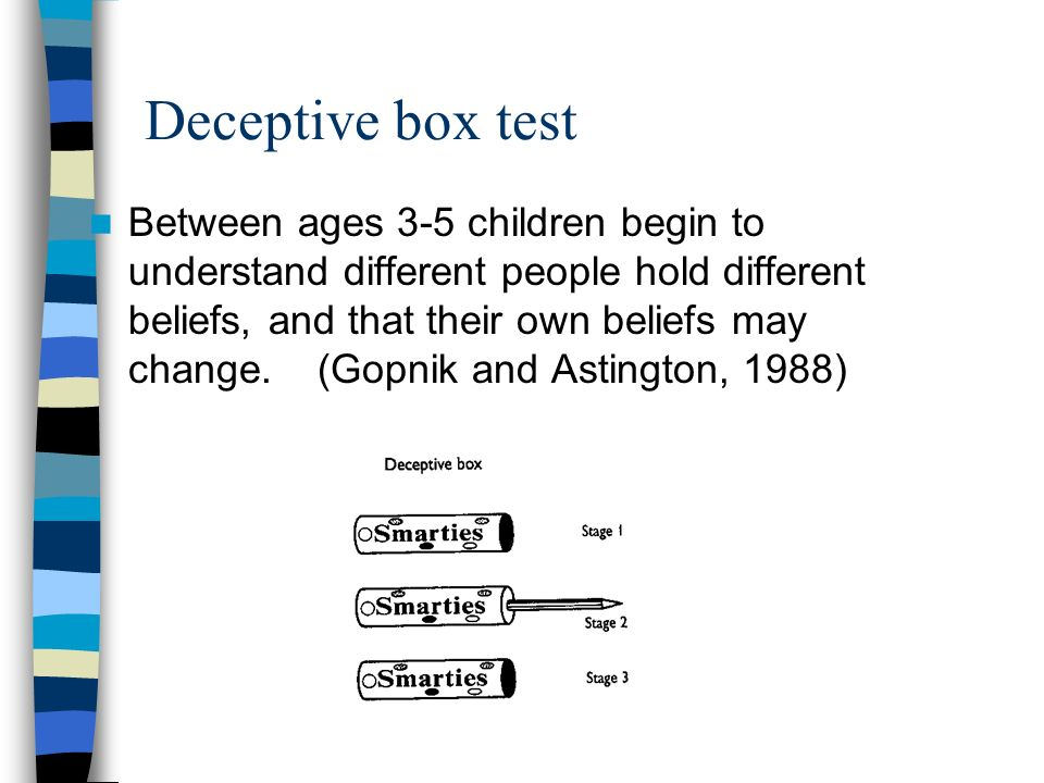 Deceptive box test Between ages 3-5 children begin to understand different people hold different beliefs, and that their own beliefs may change. (Gopn