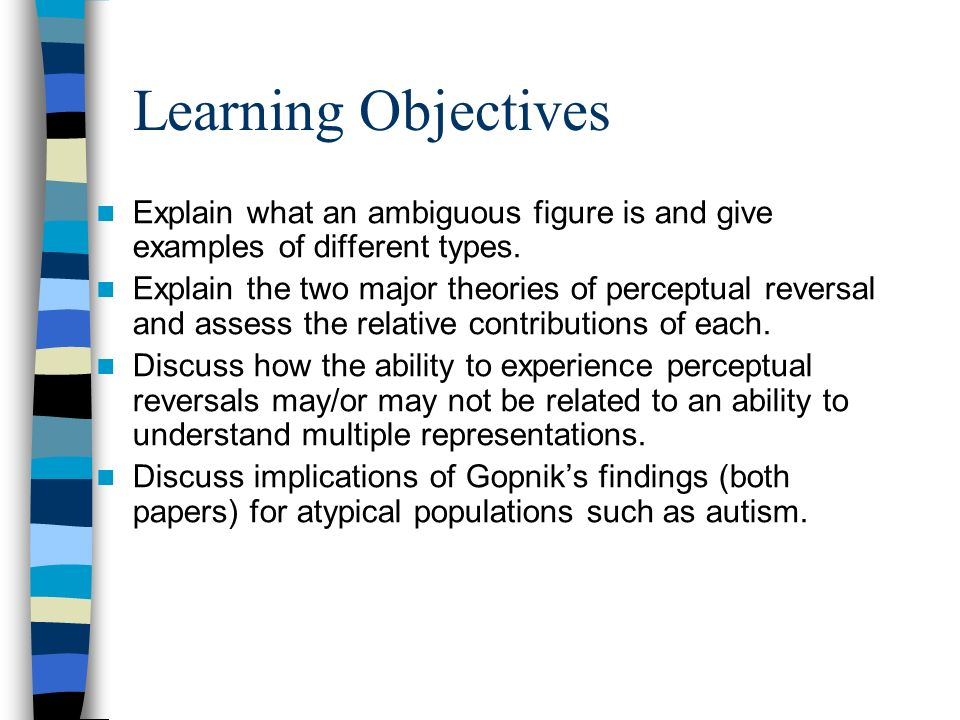 Learning Objectives Explain what an ambiguous figure is and give examples of different types. Explain the two major theories of perceptual reversal an