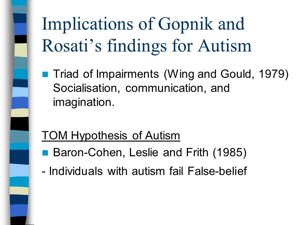 Implications of Gopnik and Rosatis findings for Autism Triad of Impairments (Wing and Gould, 1979) Socialisation, communication, and imagination. TOM
