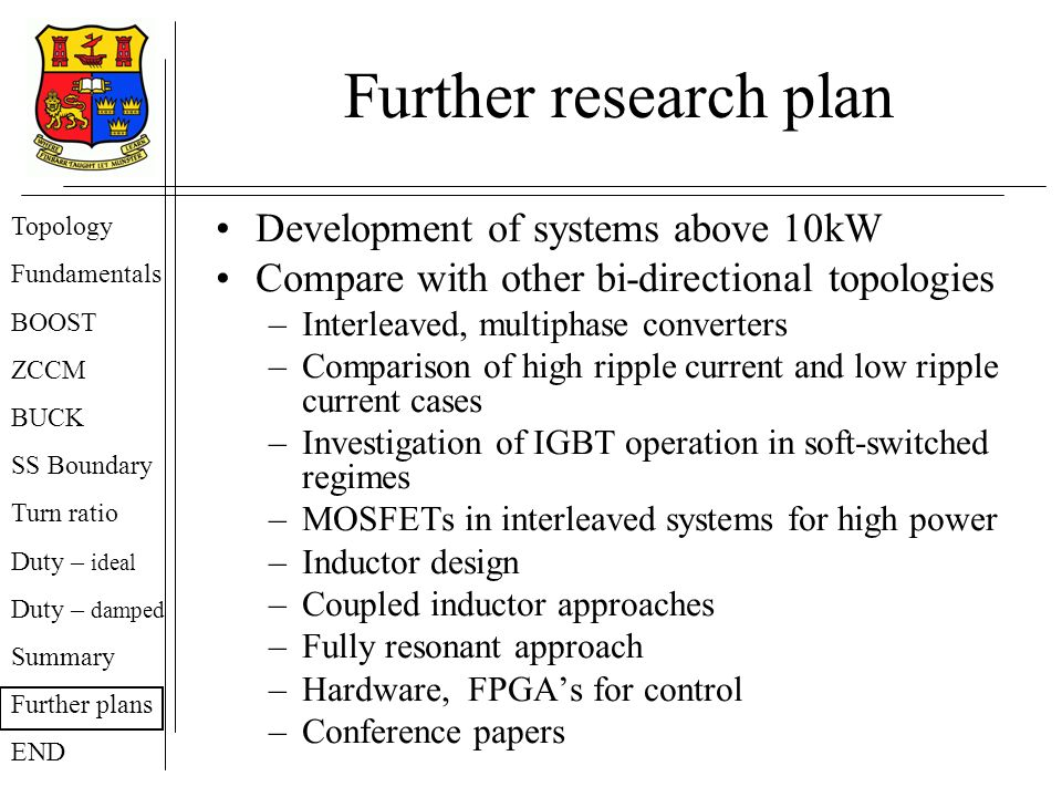 Further research plan Development of systems above 10kW Compare with other bi-directional topologies –Interleaved, multiphase converters –Comparison of high ripple current and low ripple current cases –Investigation of IGBT operation in soft-switched regimes –MOSFETs in interleaved systems for high power –Inductor design –Coupled inductor approaches –Fully resonant approach –Hardware, FPGAs for control –Conference papers Topology Fundamentals BOOST ZCCM BUCK SS Boundary Turn ratio Duty – ideal Duty – damped Summary Further plans END