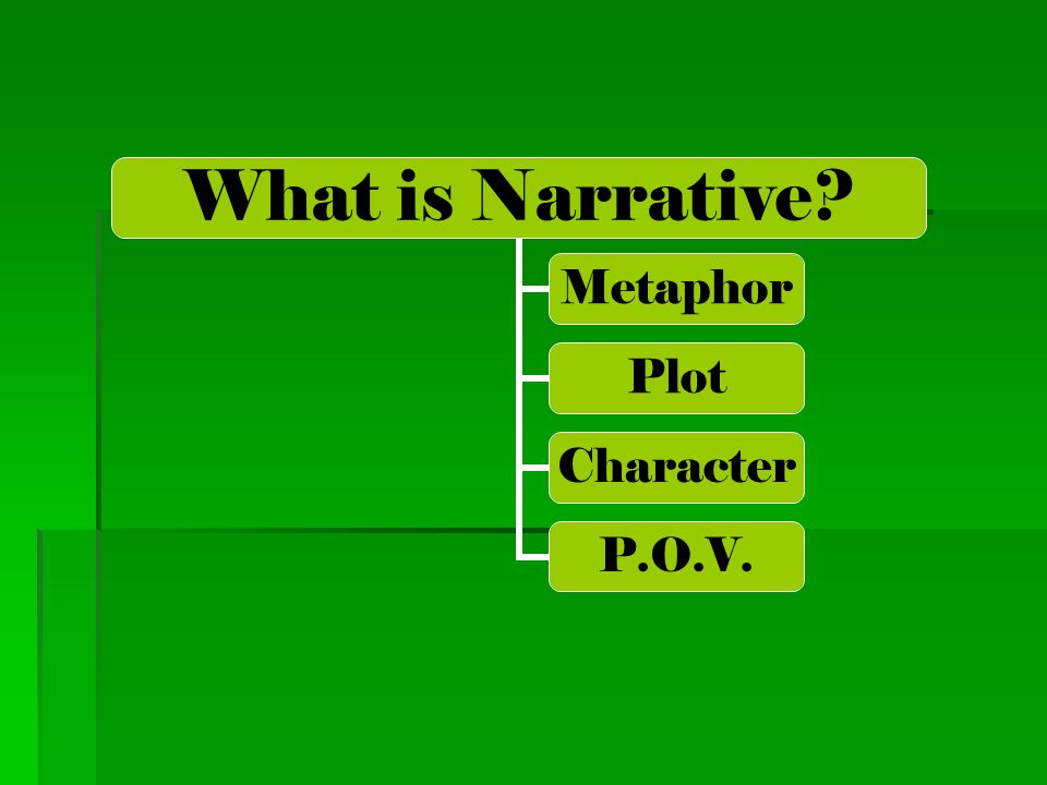 What is Narrative? Metaphor Plot Character P.O.V.
