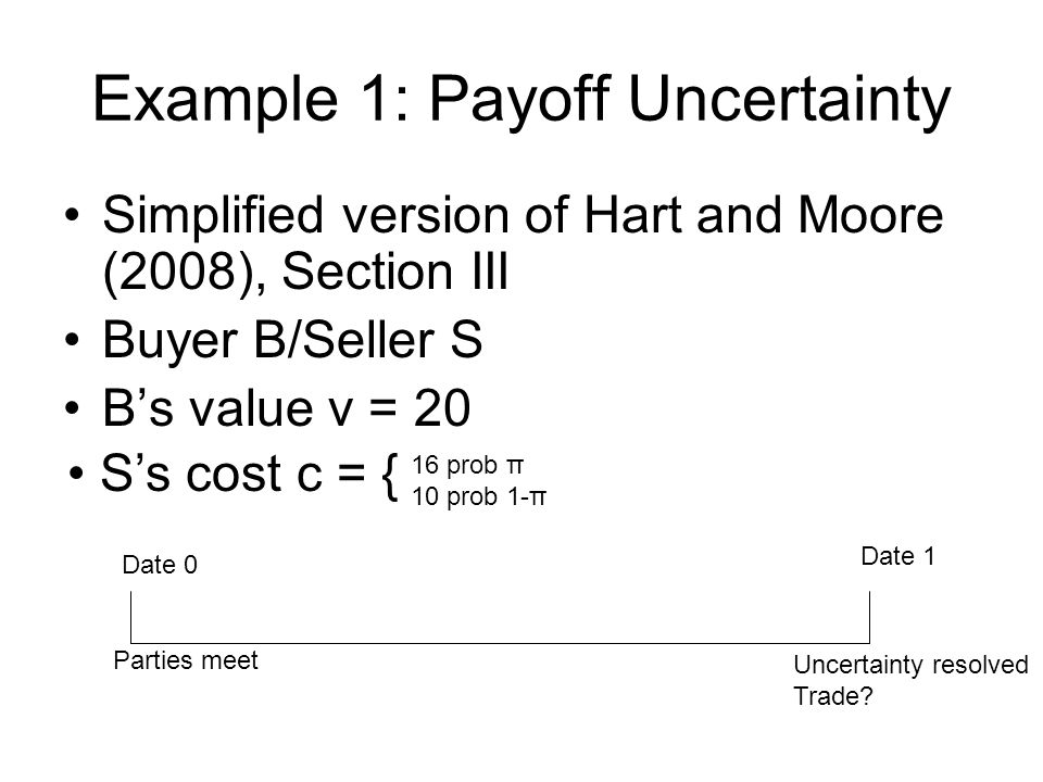 Example 1: Payoff Uncertainty Simplified version of Hart and Moore (2008), Section III Buyer B/Seller S Bs value v = 20 Ss cost c = { 16 prob π 10 pro