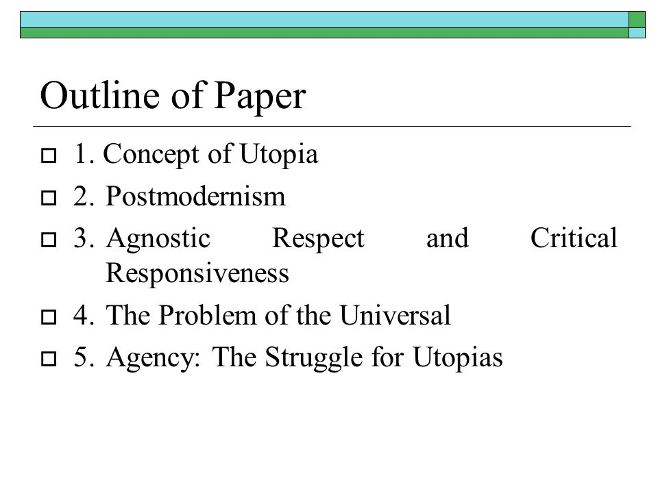 Outline of Paper 1.