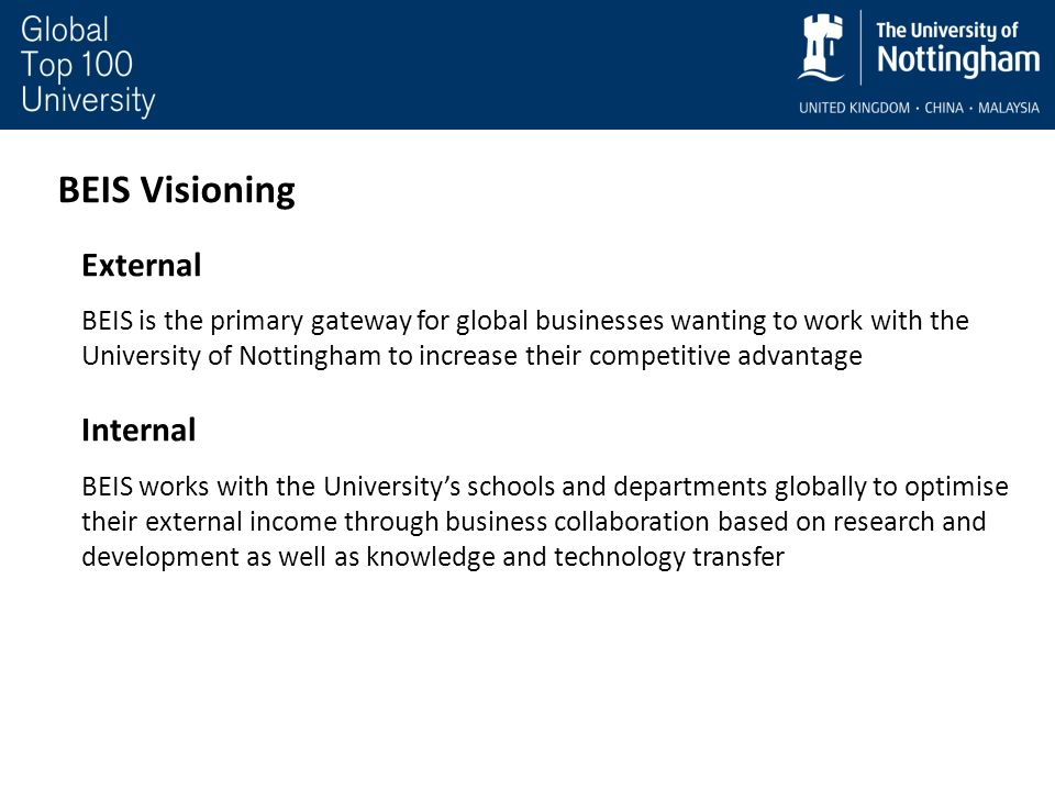 BEIS Visioning External BEIS is the primary gateway for global businesses wanting to work with the University of Nottingham to increase their competit