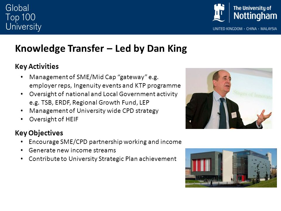 Knowledge Transfer – Led by Dan King Key Activities Management of SME/Mid Cap gateway e.g. employer reps, Ingenuity events and KTP programme Oversight