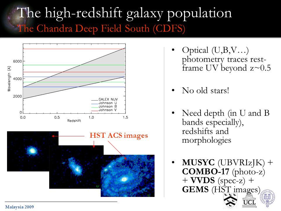 Malaysia 2009 The high-redshift galaxy population The Chandra Deep Field South (CDFS) Optical (U,B,V…) photometry traces rest- frame UV beyond z~0.5 N