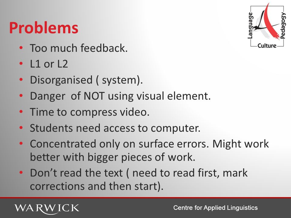 Centre for Applied Linguistics Problems Too much feedback. L1 or L2 Disorganised ( system). Danger of NOT using visual element. Time to compress video