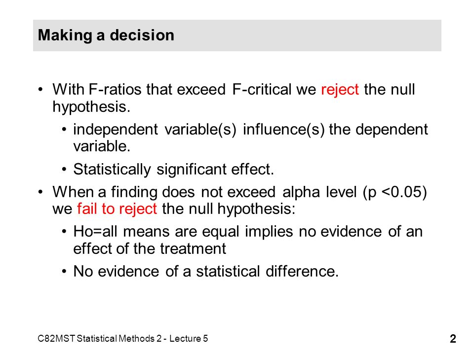 C82MST Statistical Methods 2 - Lecture 5 3 Failing to reject the null hypothesis However, no statistical difference does not prove the null hypothesis.