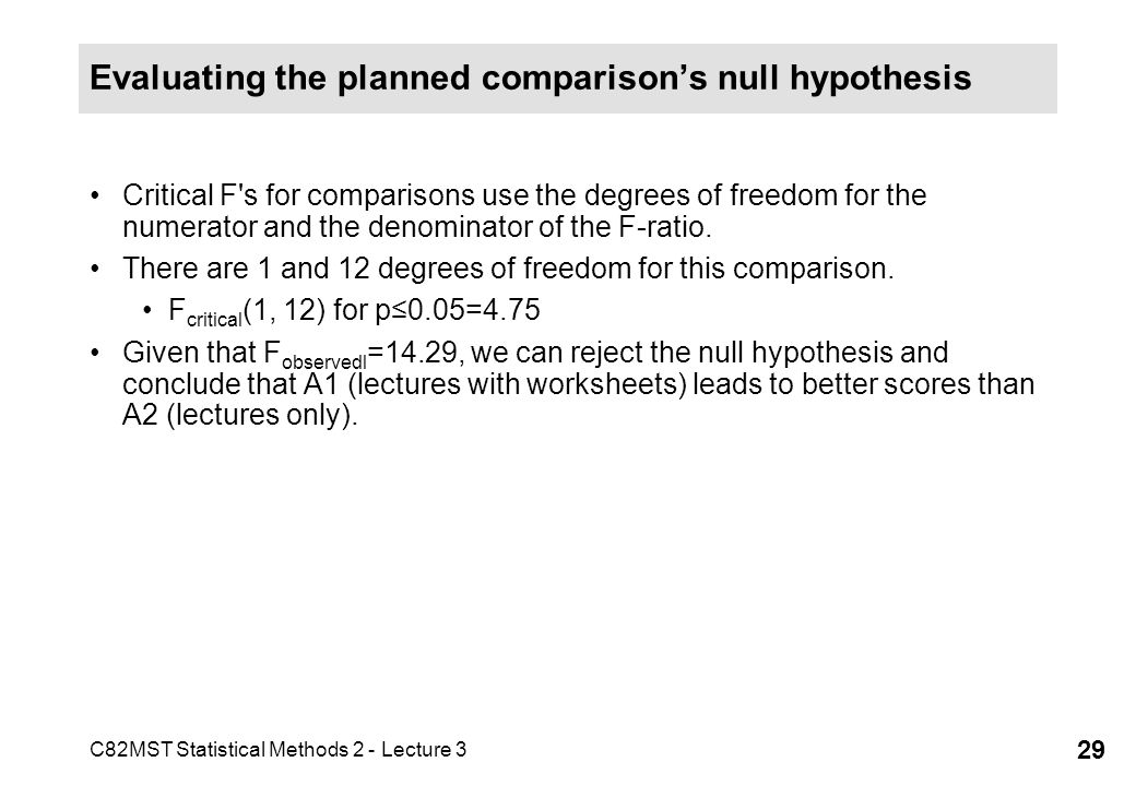C82MST Statistical Methods 2 - Lecture 3 29 Evaluating the planned comparisons null hypothesis Critical F's for comparisons use the degrees of freedom