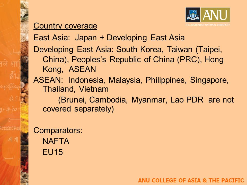 ANU COLLEGE OF ASIA & THE PACIFIC Country coverage East Asia: Japan + Developing East Asia Developing East Asia: South Korea, Taiwan (Taipei, China), Peopless Republic of China (PRC), Hong Kong, ASEAN ASEAN: Indonesia, Malaysia, Philippines, Singapore, Thailand, Vietnam (Brunei, Cambodia, Myanmar, Lao PDR are not covered separately) Comparators: NAFTA EU15