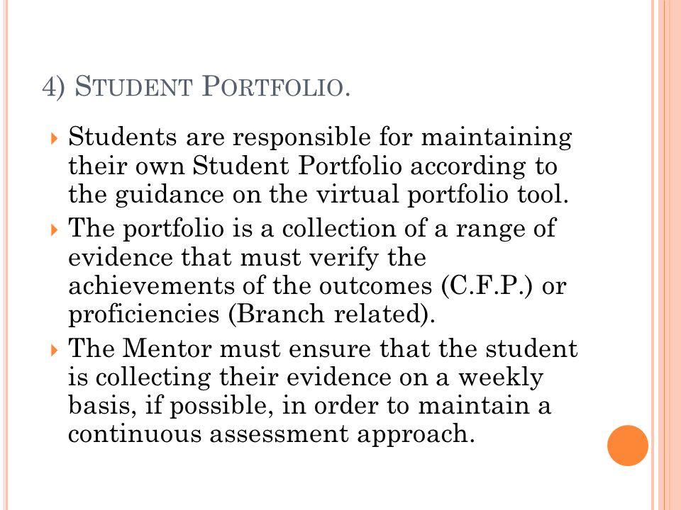 4) S TUDENT P ORTFOLIO. Students are responsible for maintaining their own Student Portfolio according to the guidance on the virtual portfolio tool.