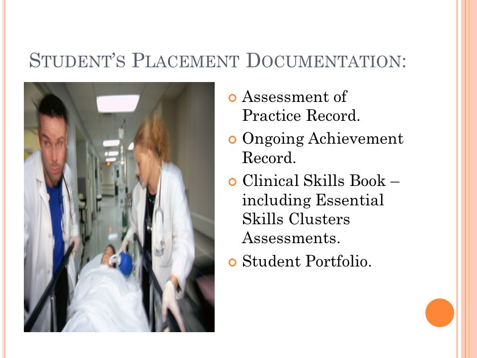 S TUDENT S P LACEMENT D OCUMENTATION : Assessment of Practice Record.