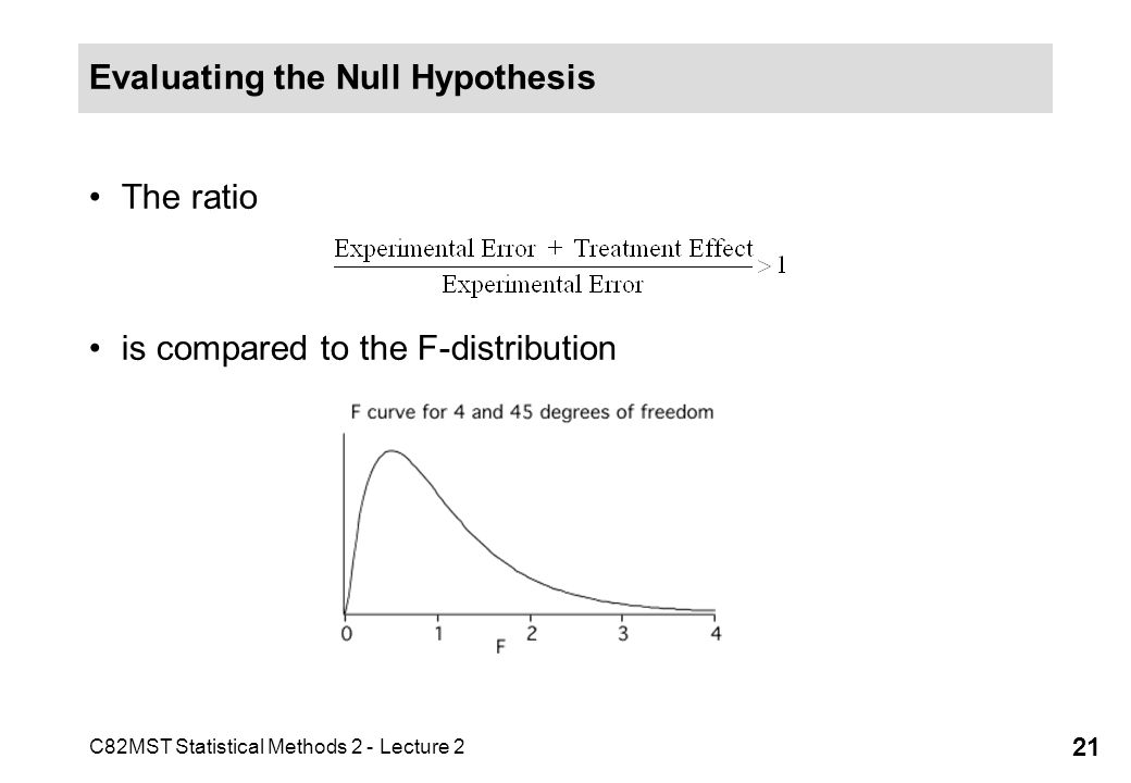 C82MST Statistical Methods 2 - Lecture 2 21 Evaluating the Null Hypothesis The ratio is compared to the F-distribution