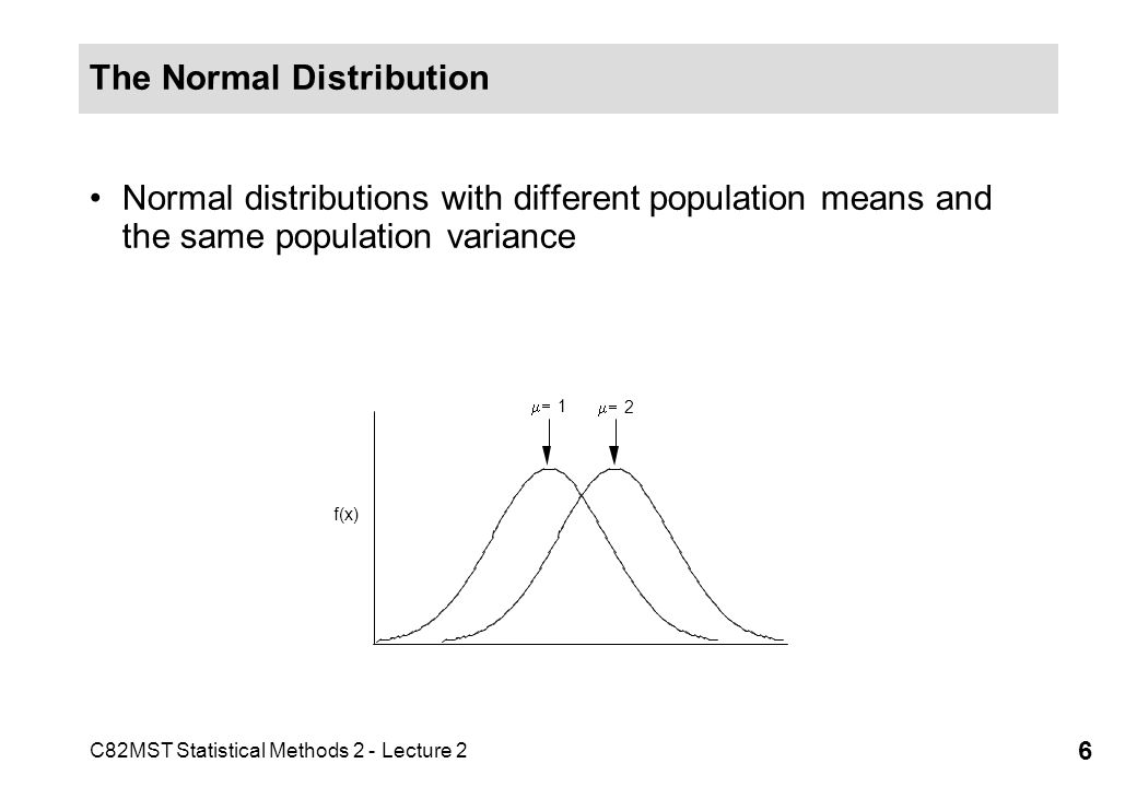 C82MST Statistical Methods 2 - Lecture 2 7 The Normal Distribution Normal distributions with different population variances and different population means 2 = 1 1 2 = 33