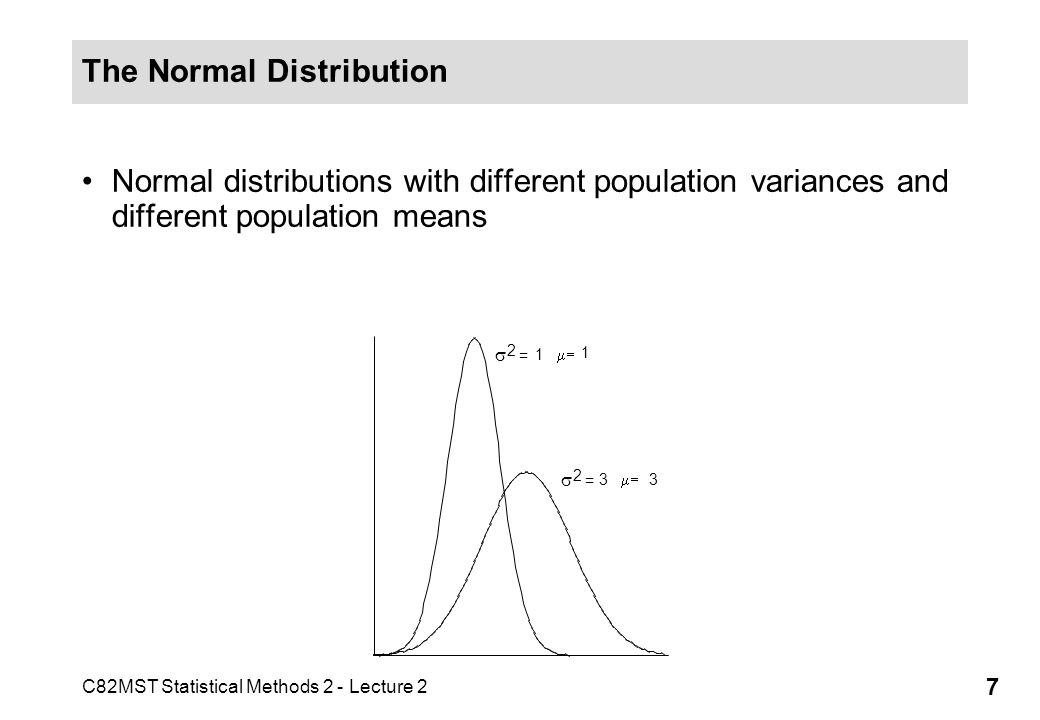 C82MST Statistical Methods 2 - Lecture 2 7 The Normal Distribution Normal distributions with different population variances and different population means 2 = = 33