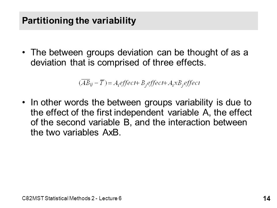 C82MST Statistical Methods 2 - Lecture 6 14 Partitioning the variability The between groups deviation can be thought of as a deviation that is compris