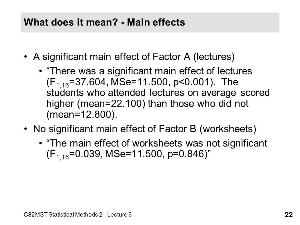 C82MST Statistical Methods 2 - Lecture 6 22 What does it mean? - Main effects A significant main effect of Factor A (lectures) There was a significant
